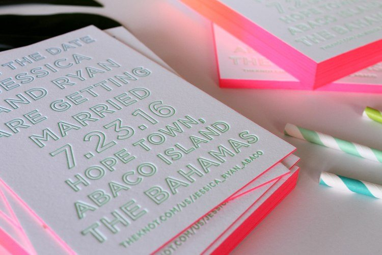 letterpress the dates with neon pink edges