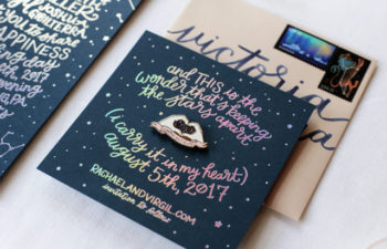 Holographic Foil Wedding Save the date with Enamel Pin