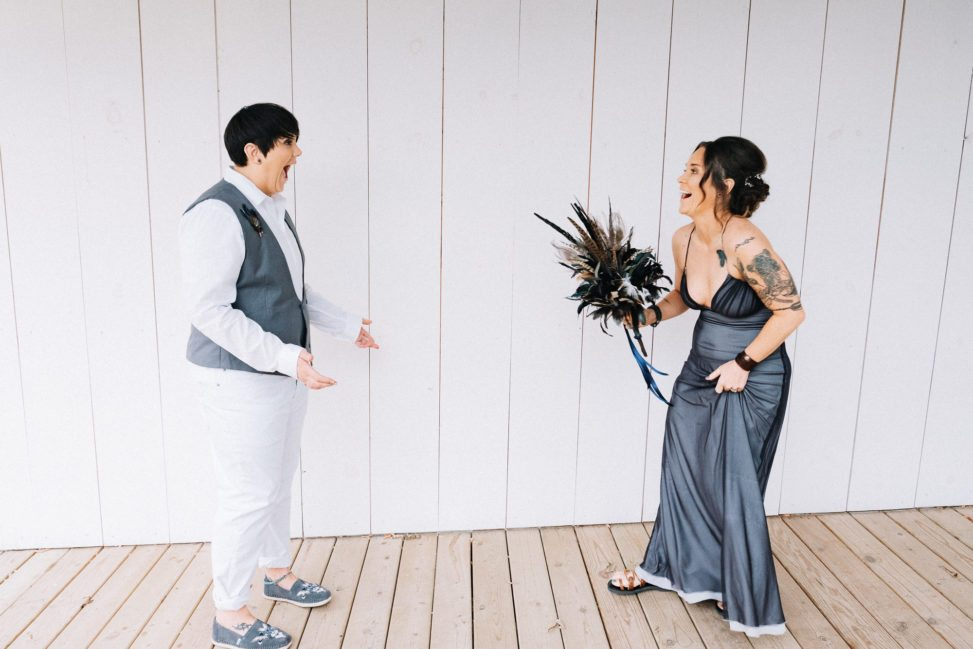 a couple see each other for the first time on their wedding day.
