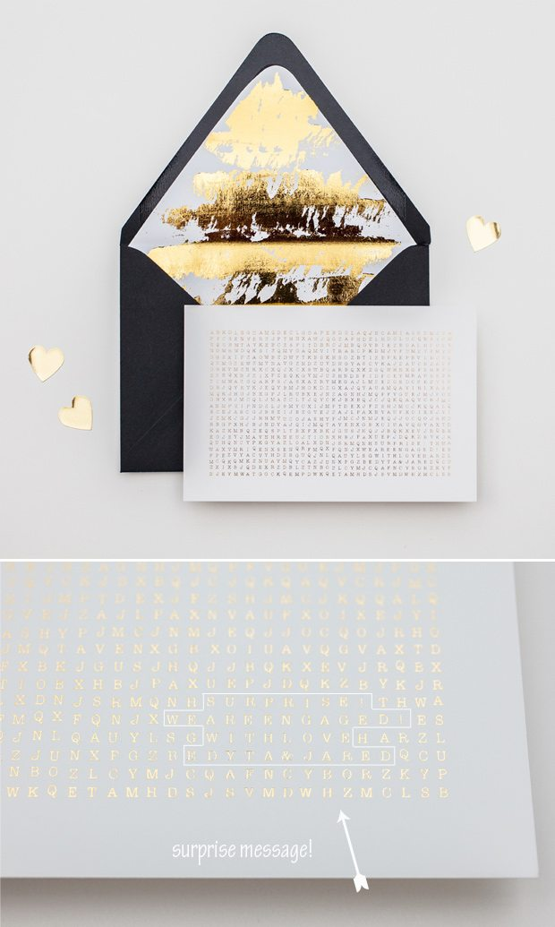 gold foil save the date word search and envelope