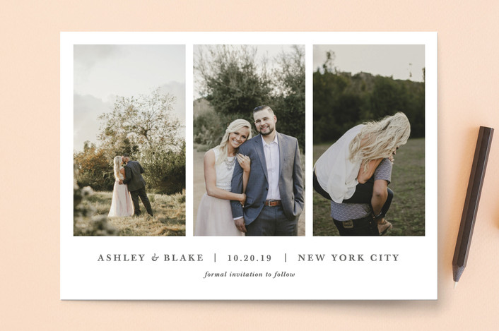 three pictures couple save the date