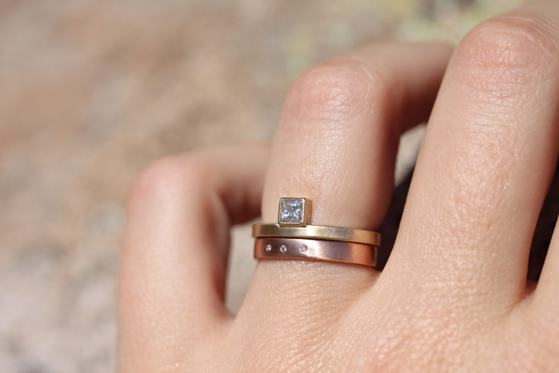 14k Diamond Alexandrine Ring and 14k Rose Gold Highsmith Ring