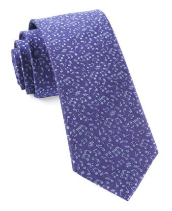 purple tie with music notes