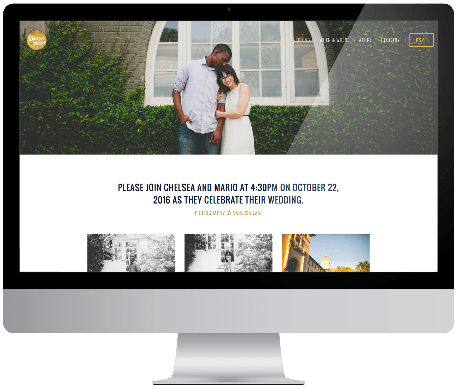 a Squarespace wedding website example with a large top photo and three smaller photos shown on a computer monitor