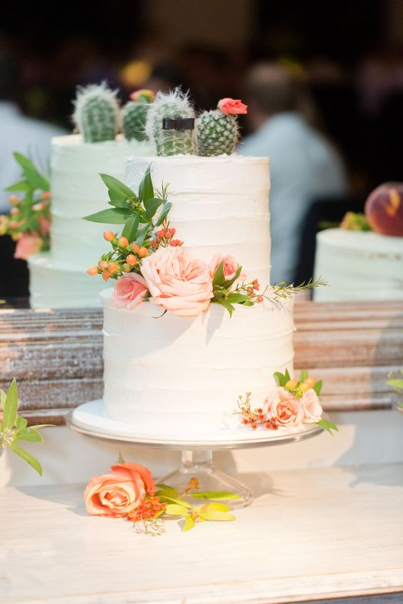 "mini cacti ""dressed"" as bride and groom cake topper—one topped with a pink flower, one with a black bow tie"