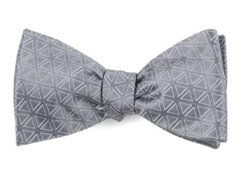 grey bow tie with triangles