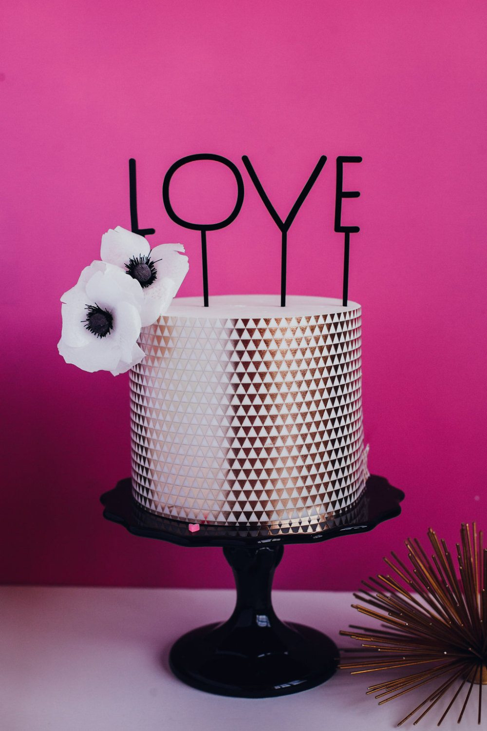 "typography ""love"" cake topper"