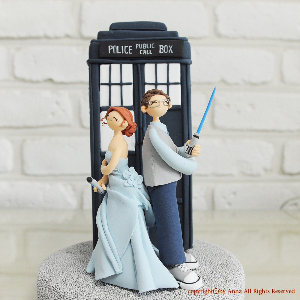 doctor who and star wars themed cake topper