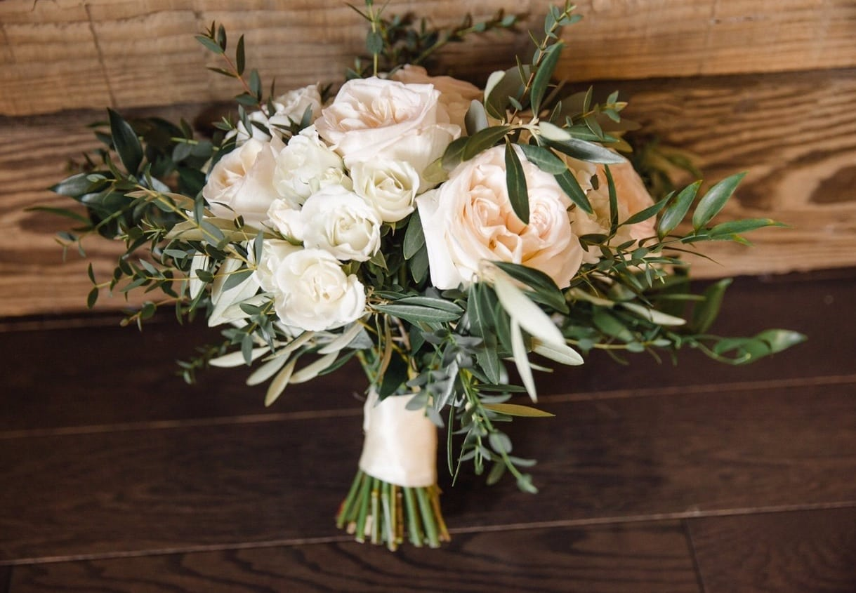 white hand-tied flower bridal bouquet