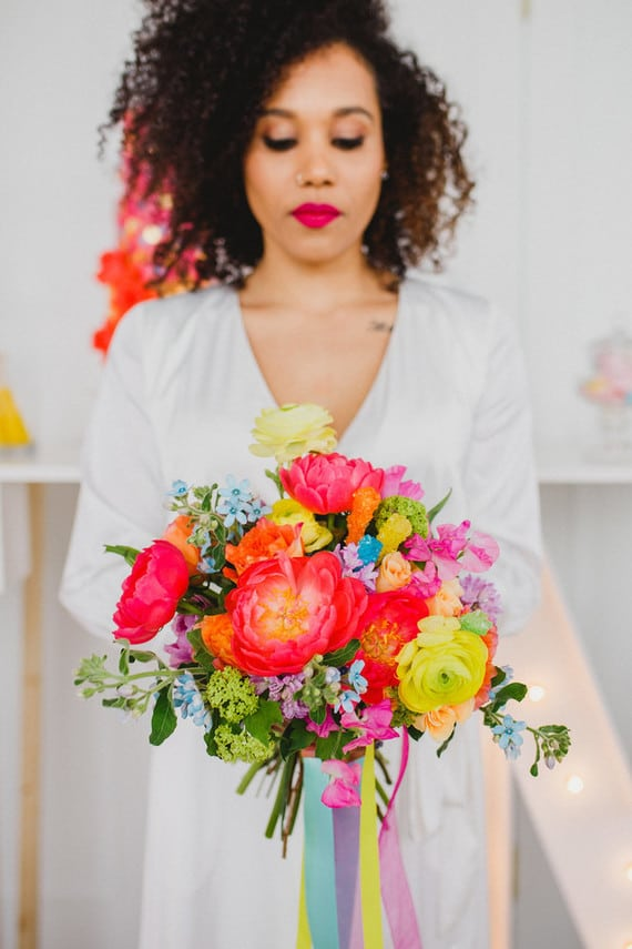 colorful hand-tied bridal bouquet