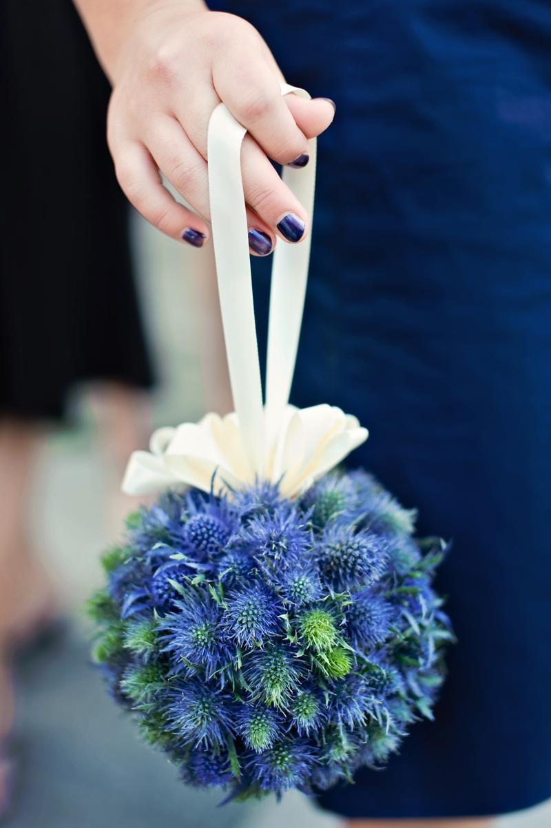 blue modern textured slightly spiky pomander bouquet