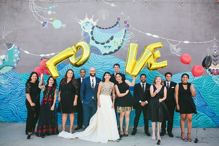 wedding party with Love balloons