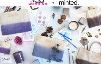 Text reading A Practical Wedding + Minted sits above an image of a collection of items from minted in various hues, including dip-dyed bags, candles, favor boxes, and more