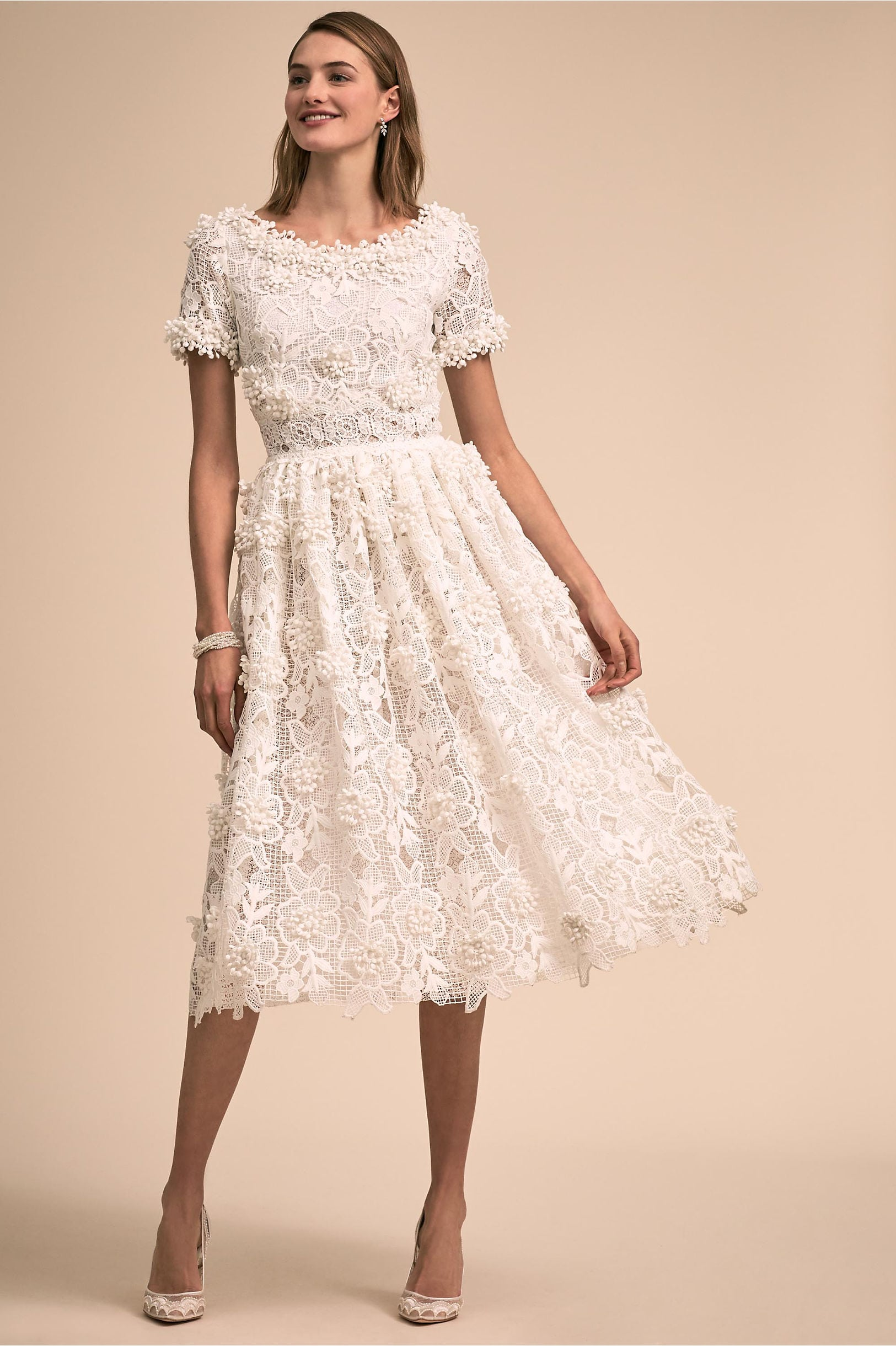 dcadedb209da Dixon Gown from BHLDN: floral lace with beaded flower accents, short  sleeves, knee