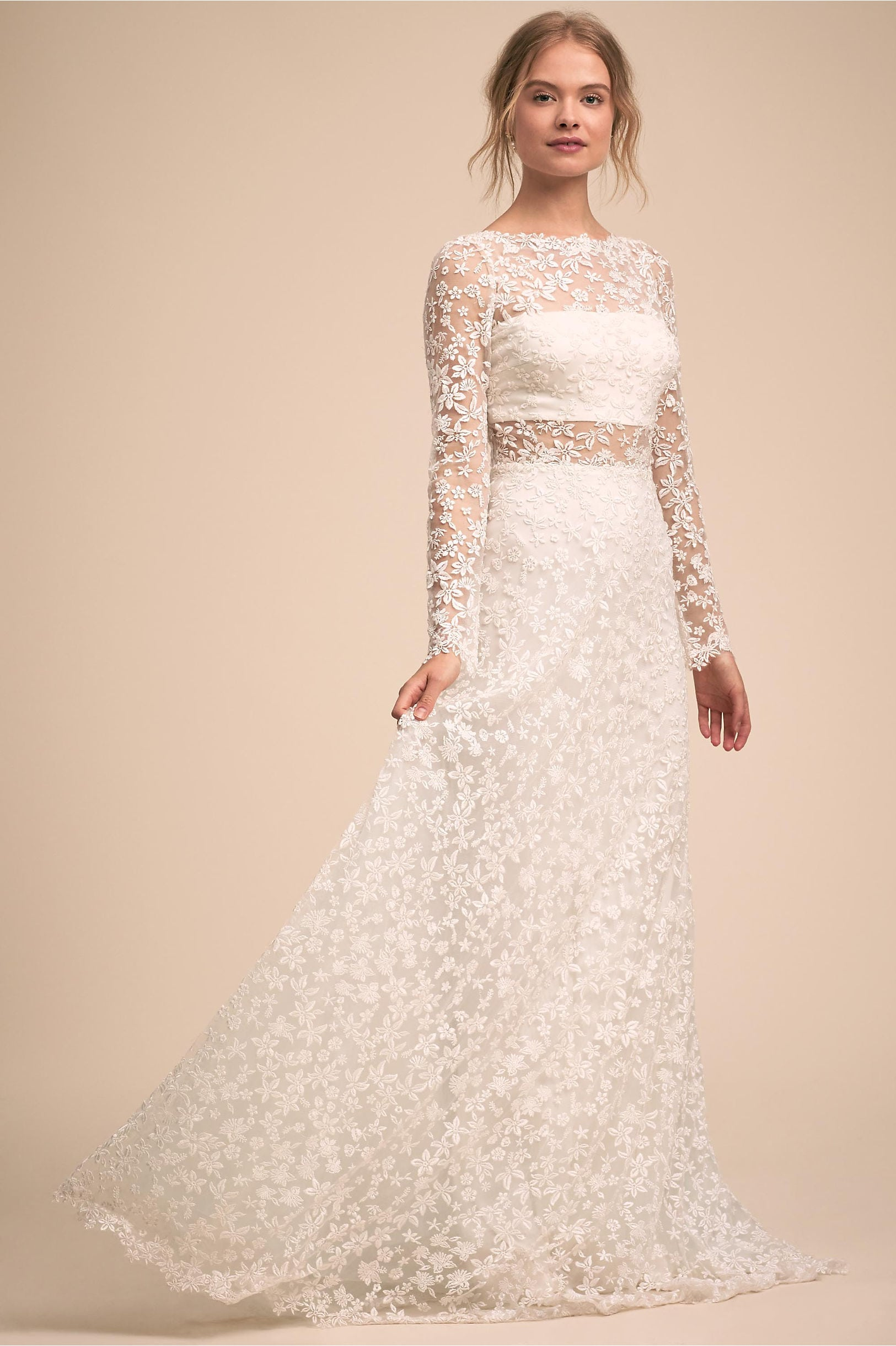 Cellestine Gown: white dress with floral appliqué long sleeve overlay over tube top with A-line skirt from BHLDN