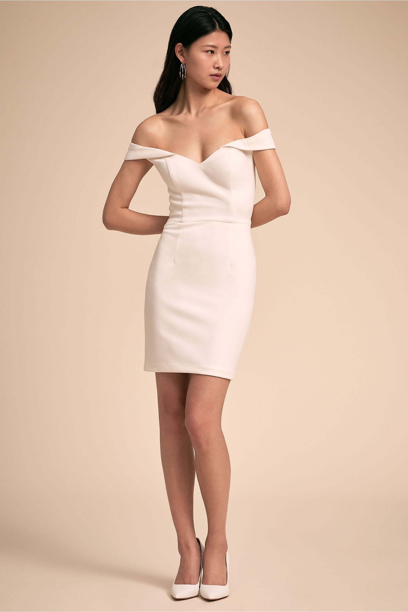 Empress Dress from BHLDN: off the shoulder v-neck tight-fitting short dress