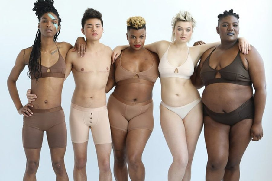 Five people with different skin tones and body types wearing nude-colored underwear