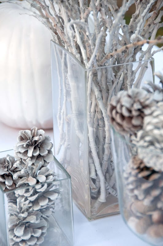 Winter wedding ideas for bringing in nature—Bleached branches and pinecones in vases on table