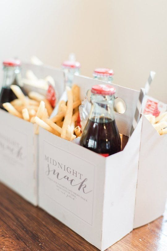 "cool wedding ideas - coke and french fries for a midnight snack in a four pack bottle box that reads ""midnight snack"" on the side"