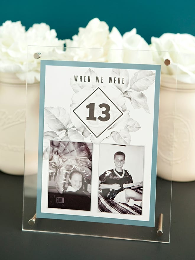 "wedding ideas for table numbers—""when we were 13"" with a picture of each of the members of the couple getting married in an illusion glass frame"