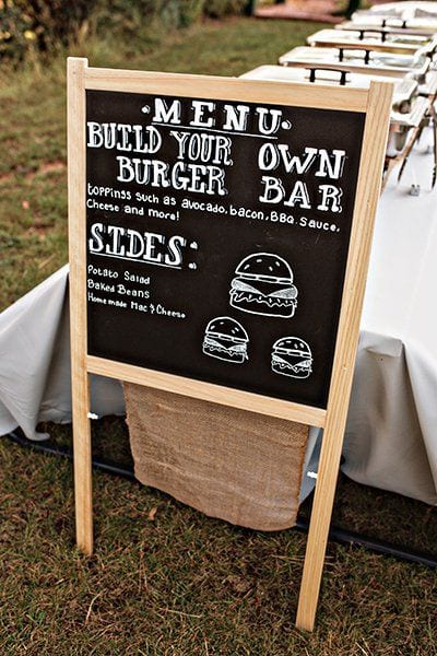 wedding ideas for a do it yourself burger bar with chalkboard menu