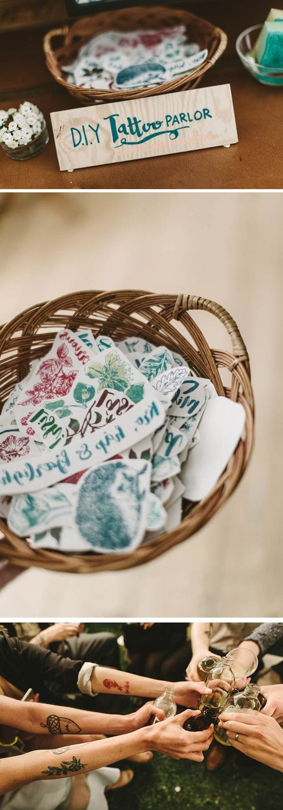 "wedding ideas for a wedding activity and favor— DIY tattoo parlor. Three images show a basket of temporary tattoos with a sign that reads ""DIY Tattoo Parlor,"" a close up of the tattoo basket, and then arms with the temporary tattoos toasting"
