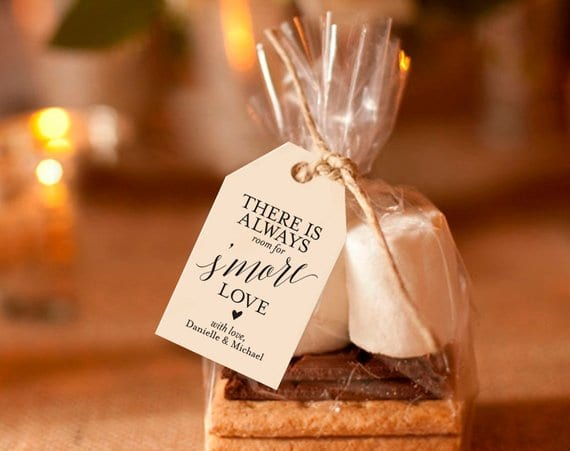 Winter wedding ideas for favors—Packaged marshmallows, cracker and chocolate as smores favor
