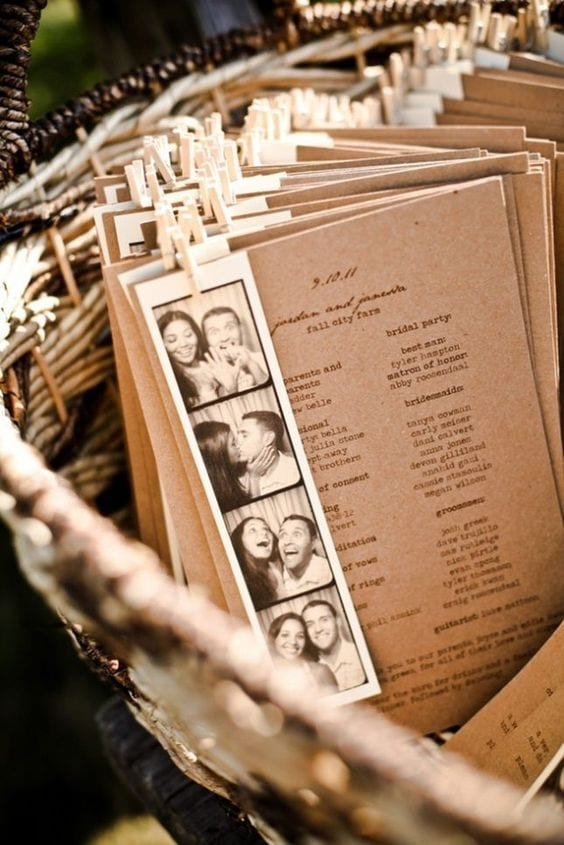 wedding ideas for programs—photo strips attached to chipboard ceremony programs with mini clothes pins