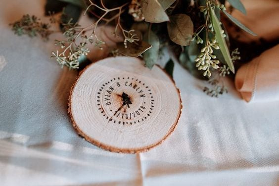 "wedding ideas for custom wood coasters—reads ""Dylan & Carlyn *1/13/2018*"""
