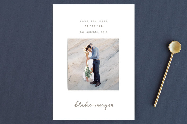 Minted save the date couple embracing with names handwritten below image