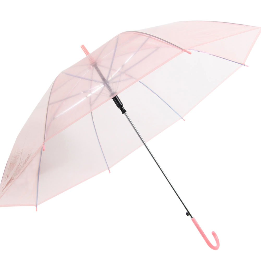a product shot of a transparent pastel pink wedding umbrella for rain