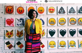 Najva sol stands in front of a grid of emoji images. Text above the image reads: A Practical Wedding + Squarespace.