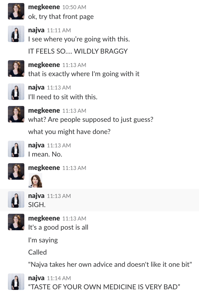 An excerpt from a Slack conversation between Najva Sol and Meg Keene, regarding Najva's Squarespace website.