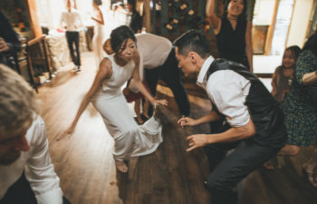 two people on the dance floor at their wedding reception getting down to the best wedding songs of 2019