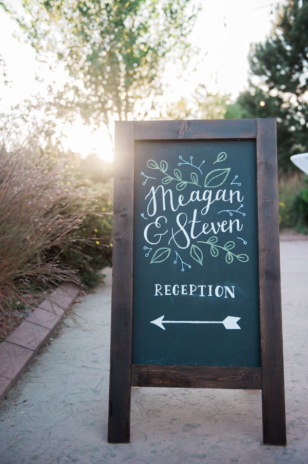 A chalkboard sign for a wedding as an idea for bridal shower decorations