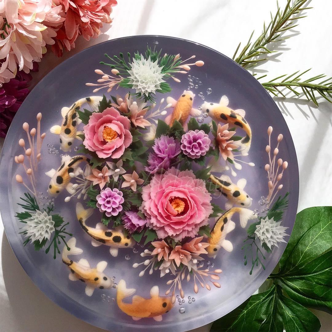 a koi pond jelly cake