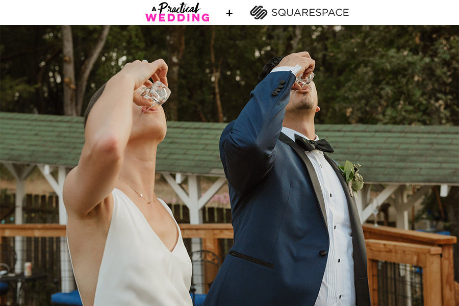 a couple in wedding attire takes shots out of shot glasses with their heads back. The text above the image reads A Practical Wedding + Squarespace
