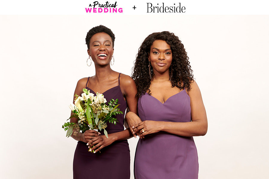 Two womxn wearing purple dresses from the Brideside Aura Bridesmaid Dress collection