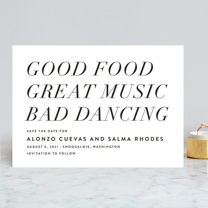 Bad Dancing save the date from Minted