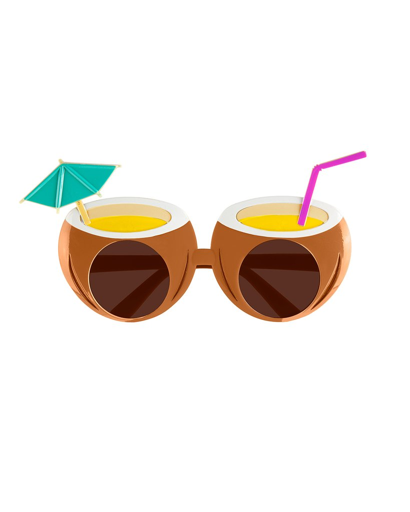 Coconut cocktail–shaped sunglasses for bridal shower favors