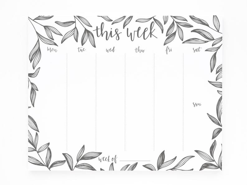 Weekly notepad with leaf design for bridal shower favors