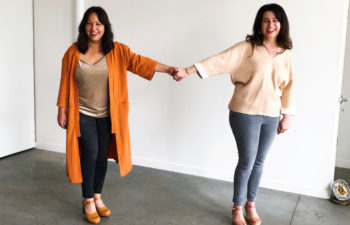 Two amazing women hold hands across a great expanse