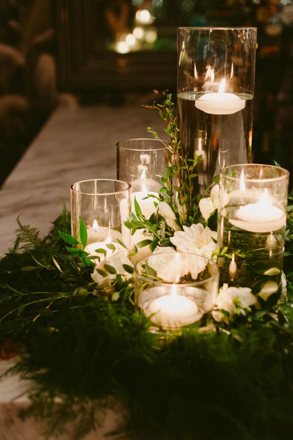 Classic glass floating candle wedding centerpieces