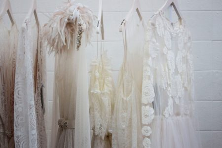 Wedding Dresses hanging on a rack