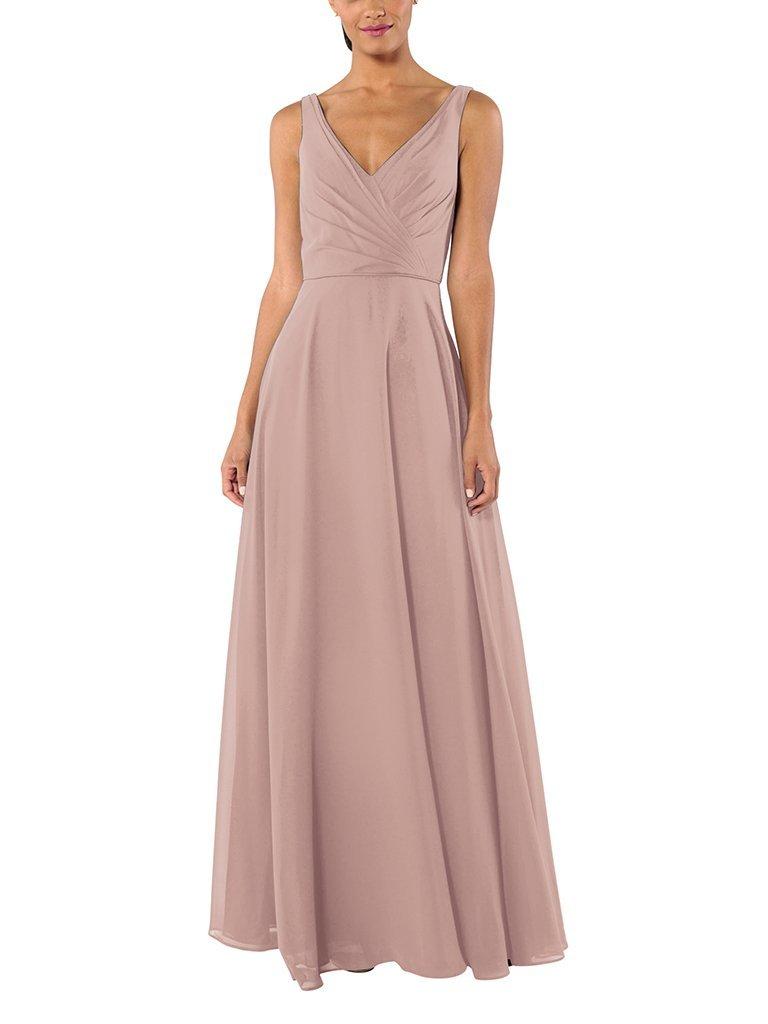 A woman models The Rachel bridesmaid dress