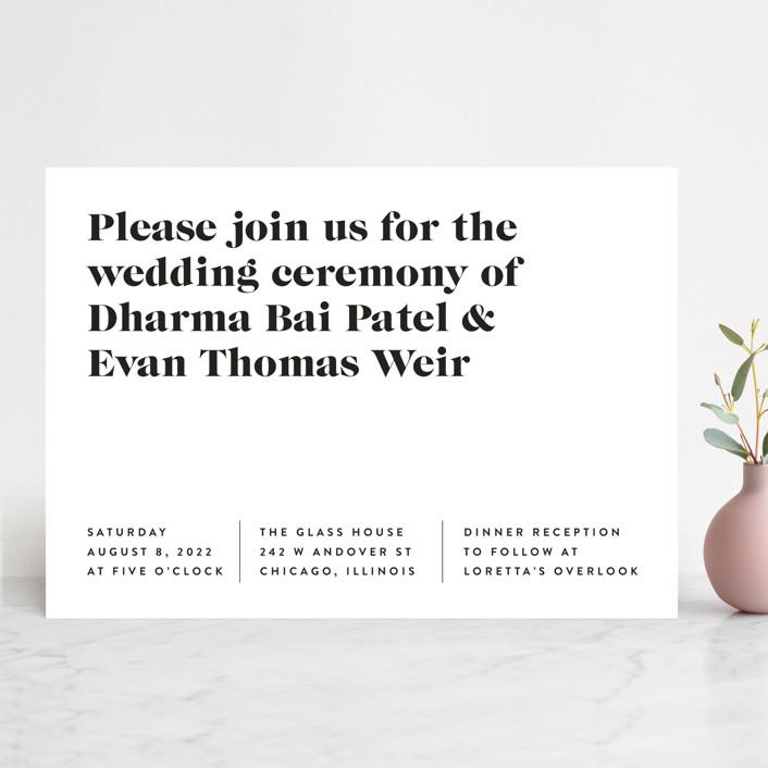 Simple wedding invitation - white paper, black font.