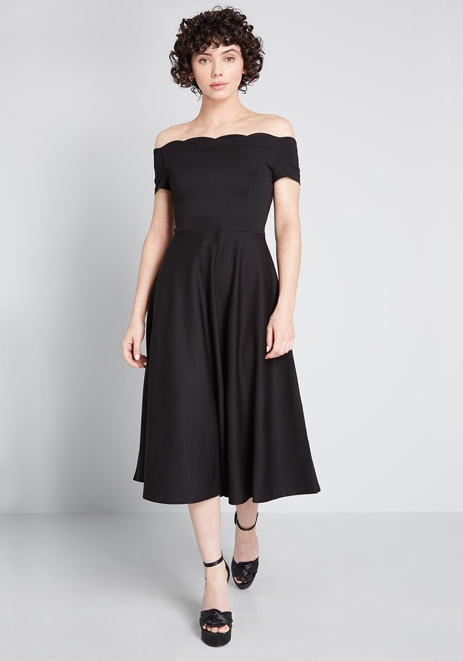 A foundation of soft-yet-substantial ponte knit fabric forms the scalloped off-the-shoulder straps, tailored bodice, and a swing skirt! Black Wedding Dresses