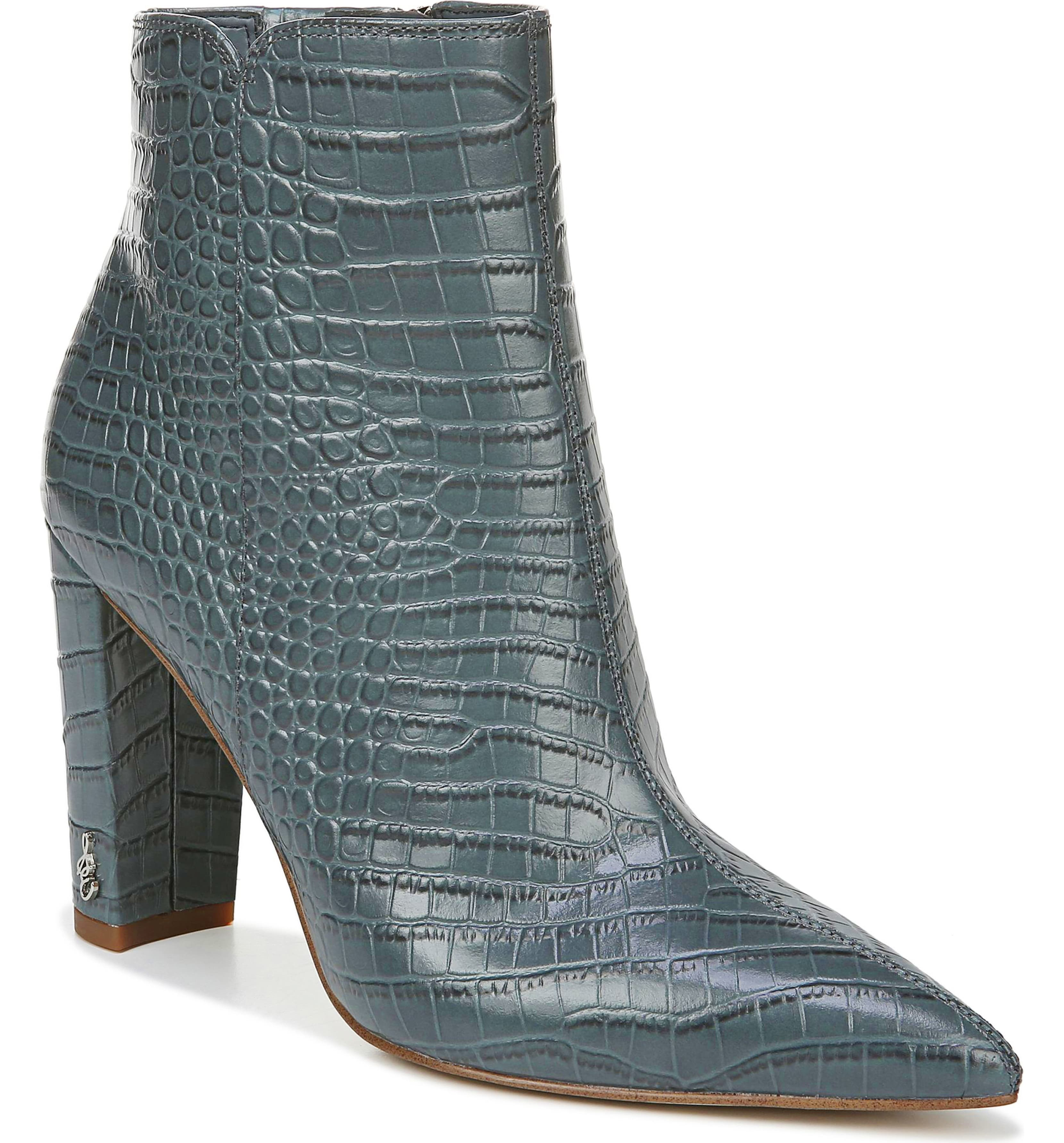 Faux reptile skin boots.