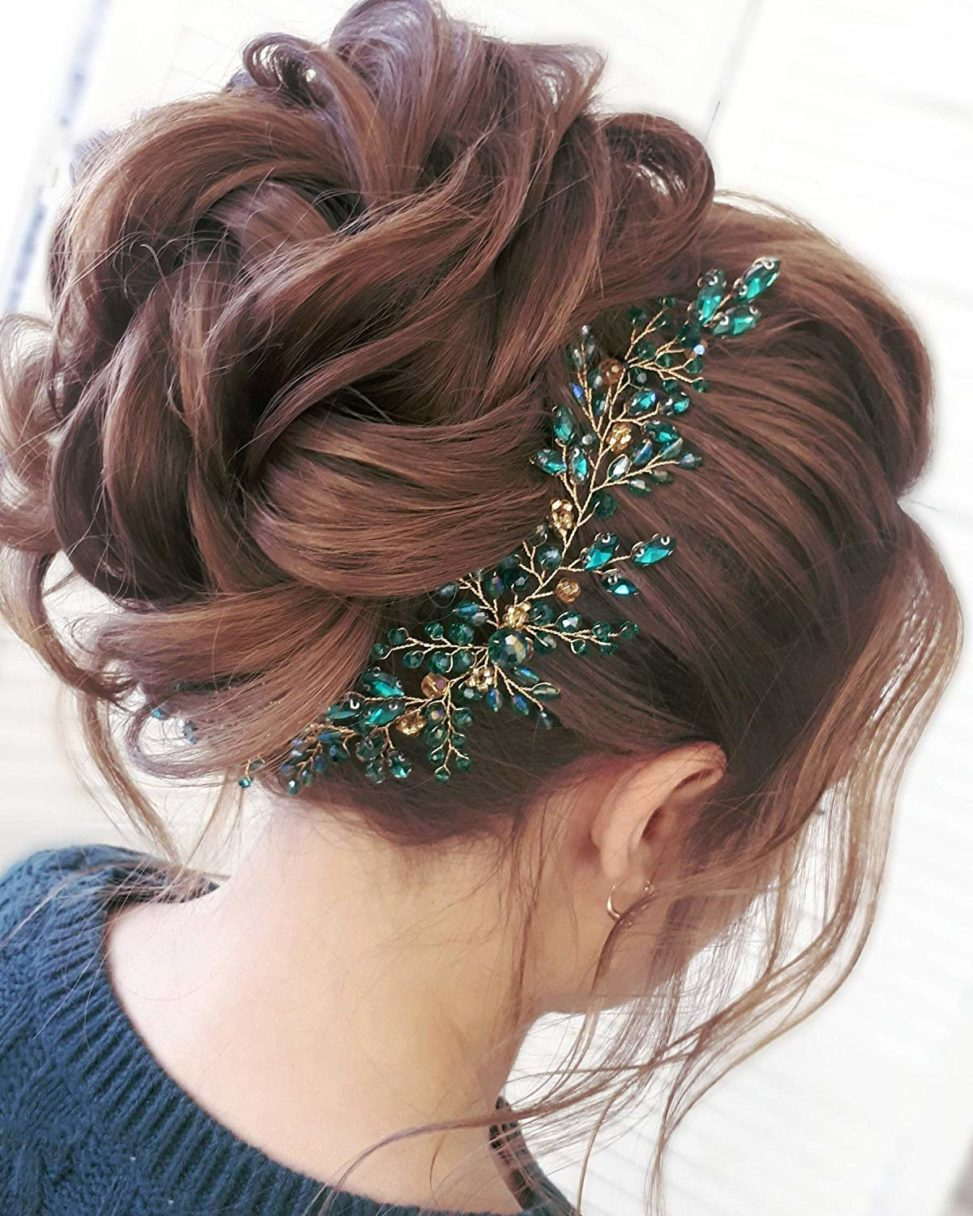 emerald green crystal hair clip wedding headpiece