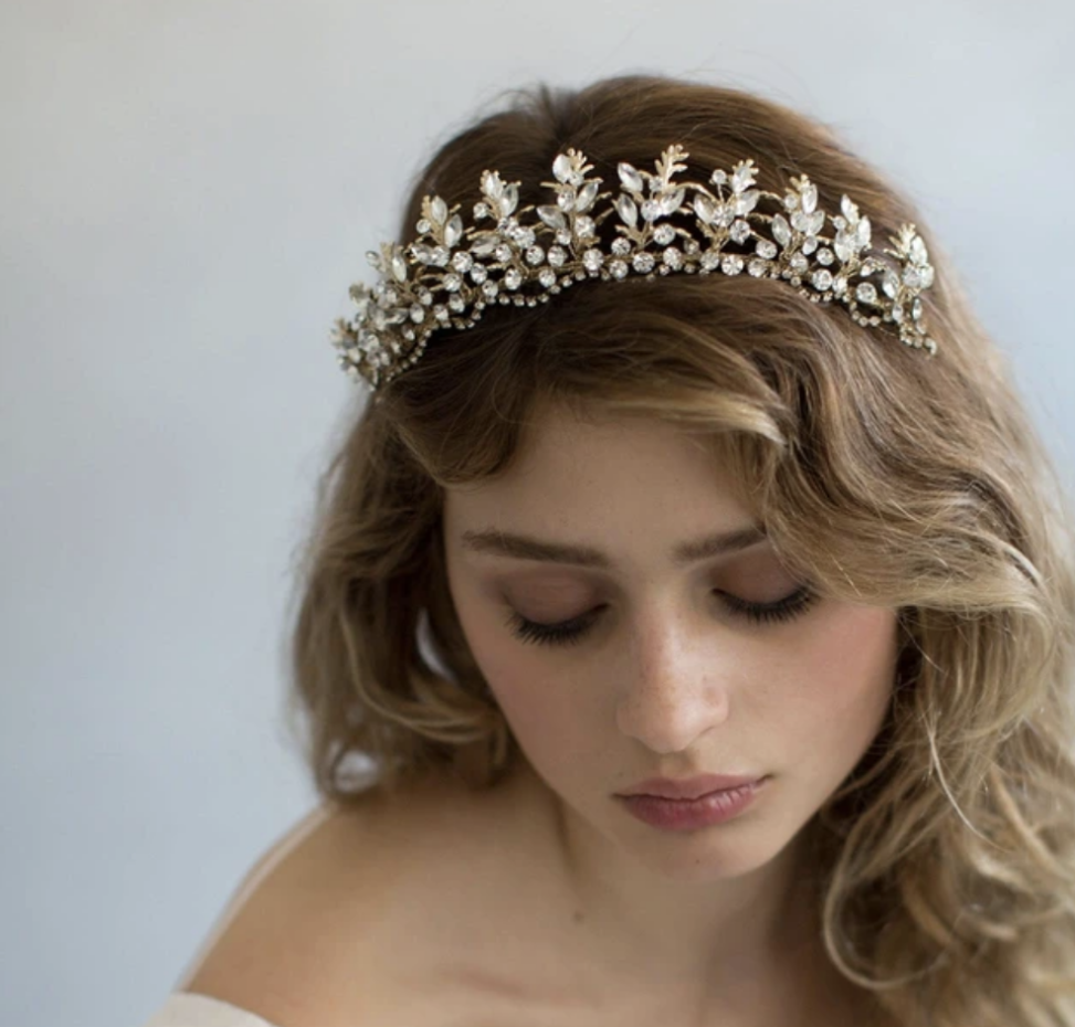 Jeweled and gold tiara.